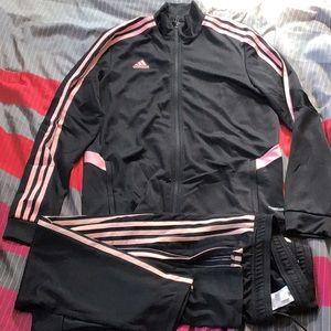LOWEST PRICE! $100 SALE!! Pink & Black Adidas track suit set! Size large- limit1